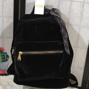 Aimee Kestenberg black velvet backpack